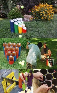 PIPE BALL GAME: diameter pvc pipe, cut with angle on one end & straight cut on other ends. Lengths of pipes(from flat bottom to very tip of the 4 @ 3 @ 2 @ 1 @ Paint pipes. Set the cut pipes in a triangle bowling pin shape(tallest … Backyard Games, Diy Garden Games, Lawn Games, Back Garden Games, Diy Games, Diy Party Games, Party Crafts, Diy Crafts, Wood Crafts
