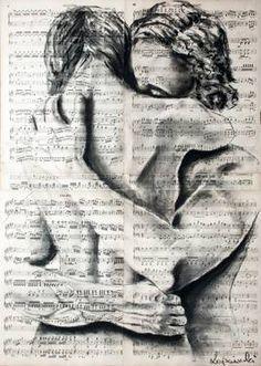 True feelings Art Print by Krzyzanowski Art - X-Small Gif Kunst, Illustration Art Dessin, Journal D'art, Art Amour, Newspaper Art, True Feelings, Couple Art, Erotic Art, Love Art