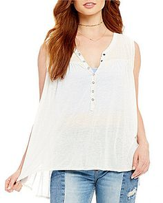 Free People Hudson V-Neck Snap Front Tank