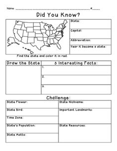 State Research from Miss Cherritt's Shop on TeachersNotebook.com -  (1 page)  - State Research Report