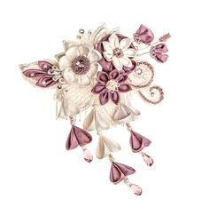 Phoebe Ivory & Wisteria Bridal Headpiece comb by PetiteLumiereCo