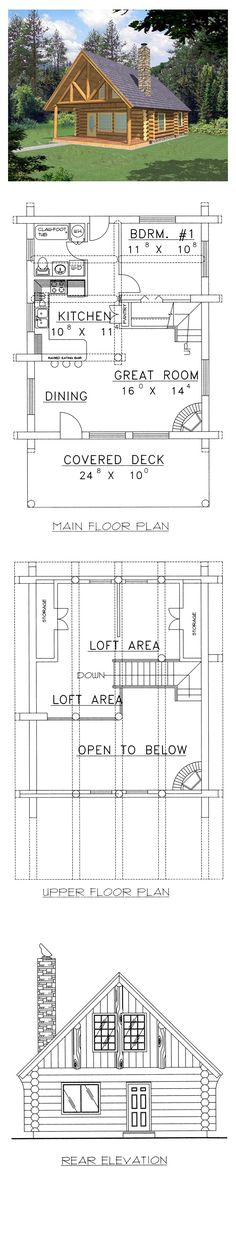 Log House Plan 87028 | Total Living Area: 1040 sq. ft., 1 bedroom & 1 bathroom. #houseplan #loghome