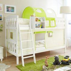 Kinderetagenbett Dylanus in Weiß-Grün | Pharao24.de