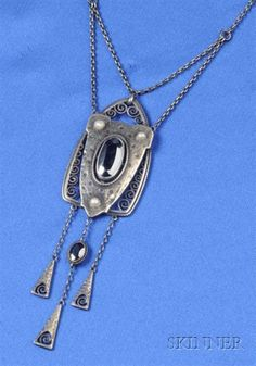 Jugendstil Silver and Hematite Pendant Necklace, Theodor Fahrner
