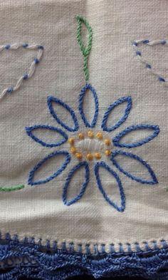 "Handmade Embroidery Cotton Table Bureau Runner Blue White Flowers 16x46"" | eBay"