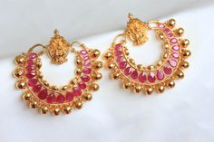 Gram gold antique finish temple earrings with lab created ruby stones and gold beads ( high quality) Comfortable and light weight. Length - 2.25 inches Width - 2.25 inch wide Item code - ABC112_200