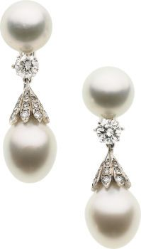South Sea Cultured Pearl, Diamond, White Gold Earrings