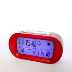 Red LED snooze alarm clock with backlight calendar weather station modern digital clock Red Led, Digital Alarm Clock, Calendar, Weather, Modern, Trendy Tree, Life Planner, Weather Crafts