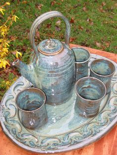 Pottery Tea Set Handmade Tea Pot Tray Cups by MalloryvillePottery - I adore this.