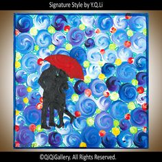 Modern Abstract Wall Painting Romantic love couple by QiQiGallery