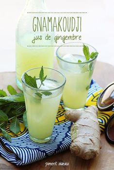 Summer drink :: Le gnamakoudji / Fresh Ginger juice :: Côte d'ivoire :: Detox Juice Cleanse, Healthy Cleanse, Detox Juice Recipes, Detox Drinks, Detox Juices, Carribean Food, Caribbean Recipes, Ginger Juice, Fresh Ginger