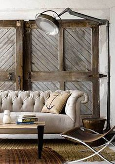 Diagonal plank and 4-square framed natural wood interior barn doors – Decorology via Atticmag
