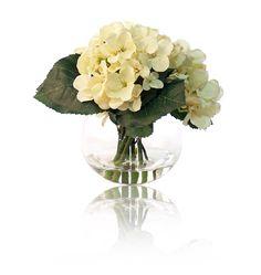 "Floral Arrangement White Silk Flowers Hydrangea Lavender Cynthia Rowley Vase 10/"""