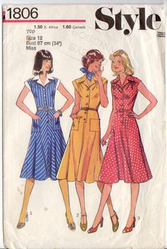 Style 1806; ©1977; Misses' Dress: Dress, with extended shoulders, has front button fastening, pointed collar with revers, and yoke cut without shoulder seams. The bodice, softly gathered to yoke at front and back, is attached to bias cut flared skirt at waistline. View 1 and 2 have short set-in sleeves and patch pockets. View 1 collar, facings and sleeves are in contrasting fabric. View 3 is sleeveless. All views are worn with purchased belt. Bessie and Maive