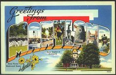 1940s Large Letter Greetings from   Maryland State Vintage Postcard
