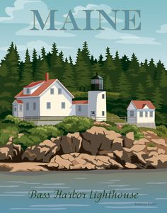 Bass Harbor Lighthouse Maine Art Print by Barbara Pixton - X-Small Bass Harbor Lighthouse, Lighthouse Art, Great Places, Places To Go, Party Vintage, Maine Lighthouses, Mount Desert Island, Lighthouse Pictures, Vintage Travel Posters