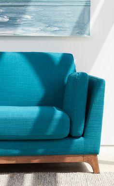 Green Blue Sofa 3 Seater Solid Wood Legs Article Ceni Modern Furniture