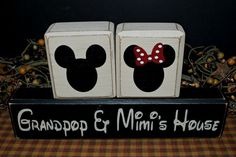 Mickey and Minnie Mouse Grandpop & Mimi's House primitive rustic distressed gift wood blocks sign by PrimitiveHodgePodge
