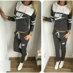 "Women's Sports ""Nike"" Alphabet Print Hoodie Sweatshirt Set [6698332743]"