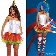 Put a sassy or evil spin (or both!) on a classic clown costume with a rainbow clown tutu, striped thigh-high stockings, of course an evil clown knife! 13 Halloween Costume Ideas to Complete Your Character. #BeACharacter