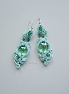 #soutache #earrings #mint #glass #www.ludozerna.com