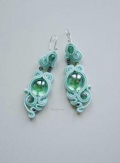 #soutache #earrings #mint #glass #www.ludozerna.com