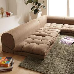 Good thing: Free-style low sofa RelaQua [リラクア] floor sofa living sofa corner sofa beige - Purchase now to accumulate reedemable points! Floor Cushions, Cushions On Sofa, Floor Cushion Couch, Sofa Sofa, Deco Bobo Chic, Living Room Sofa, Living Room Decor, Living Room Corners, Japanese Sofa