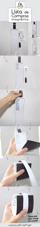 A Lista de compras magnética para levar consigo à compras! Inclui caneta/marcador de quadro branco. Boas organizações! :)  Magnetic Grocery List. Available soon in english!