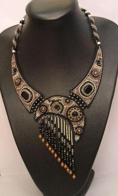 Beaded necklace inspiration, quarter moon with fringe