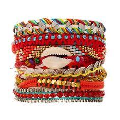 Bracelet brésilien Biarritz argenté et multicolore - Hipanema | Brandalley