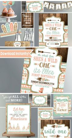 Wild One First Birthday Party Package Printables | Tribal Wild One Birthday Kit | Boho Birthday Party Decor #ad #firstbirthday #wildone #wildchild #tribal #birthdayparty #party #partydecor #partytime #print #printable #download #downloadandprint #pdf #babygirl #boho #bohostyle
