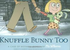 Knuffle Bunny Too by Mo Willems. Trixie is a few years older and she's starting school. At her school, one of her classmates has the same Bunny. A fight ensures between her and her classmate. Their Knuffle bunnies get taken away. At the end of school the pair are given their bunnies back, but the Knuffle Bunnies get mixed-up. Trixie's parents end-up calling Trixie's classmate's parents and the two switch bunnies. The two then become good friends. Good for children three and above.