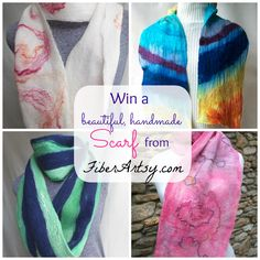 Win a Hand Felted Scarf! Handmade Scarves, Crossed Fingers, Etsy Store, Felted Scarf, Tie Dye, Arts And Crafts, Hands, Giveaways, My Style