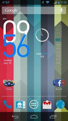 A custom  Android Jelly Bean home screen using Nova Launcher and the Holo Icon Pack. Widgets: Bobclock, Nexus 4 Clock, Minimal Text, Battery Widget Reborn (Beta).