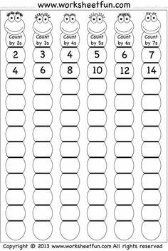 Skip Counting by and 7 – Worksheet / FREE Printable Worksheets – Worksheetfun Kids Math Worksheets, Free Printable Worksheets, Math Activities, Letter Worksheets, Skip Counting Activities, Counting Worksheet, Counting By 2, First Grade Math Worksheets, Free Printables