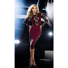 68f3fec5f7e Burgundy and Black Lace Midi-Length Dress The color of fine wine
