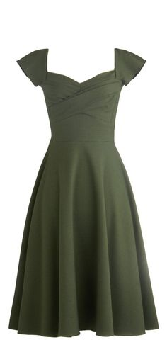 Retro Olive Swing Dress