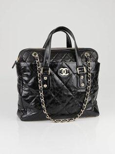 46d41d8076cd Gorgeous Vintage Chanel Black Distressed Glazed Calfskin and Lambskin  Portobello Tote Bag