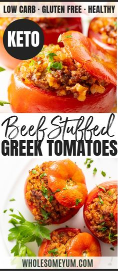 Gemista: Baked Greek Stuffedmatoes Recipe - This baked Greek stuffed tomatoes recipe (Gemista) makes an easy low carb dinner. Cauliflower rice and meat stuffed tomatoes are both flavorful, healthy and low carb. Greek Recipes, Real Food Recipes, Keto Recipes, Cooking Recipes, Healthy Recipes, Dessert Recipes, Shake Recipes, Ketogenic Recipes, Diabetic Recipes