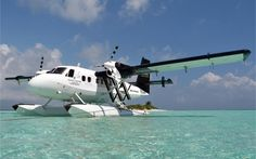 You are jetted off in a sleek-looking black, white and gray DeHavilland Twin Otter seaplane. It's pimped out with leather seats, iPads for in-flight entertainment, binoculars and Bose noise-canceling headphones.