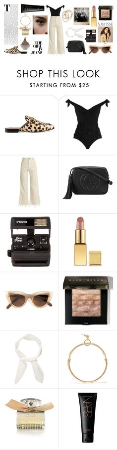 """""""Wide leg jeans 1/3"""" by seetheotheroceans ❤ liked on Polyvore featuring Gucci, Zimmermann, Rachel Comey, Polaroid, AERIN, Quay, Bobbi Brown Cosmetics, Chloé, NARS Cosmetics and ABS by Allen Schwartz"""