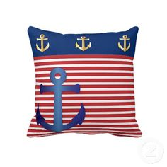 Nautical Theme. Unique, trendy and decorative pillow. With design of vintage anchor on red and white striped pattern, and anchors on navy blue. Made for the sailor or boater, water sport, boating, sailing, ocean or sea lover. Cute kid's, mom's or dad's birthday present, Mother's or Father's day, or Christmas gift. Or just an original, cool and fun pillow for your master or children's bedroom, nursery, living or family room, patio or deck, cabin, boat or yacht, beach house, or vacation home.