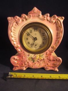 LOVELY GILBERT PORCELAIN MANTEL CLOCK w ALARM 4 PARTS OR REPAIR WINSTED, CT