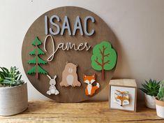 Woodland Nursery-Nursery Wall Art-Nursery Decor-Fox-Bear-Rabbit-Nursery Name Sign-Wooden Letters-Custom-Wood Sign-Animal-Bedroom Decor-Trees Nursery Name, Nursery Wall Art, Nursery Decor, Wall Decor, Wood Name Sign, Name Signs, Custom Wood Signs, Wooden Signs, Wood Cut