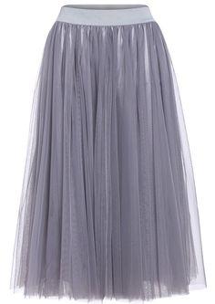 Sheer Mesh Pleated Grey Skirt