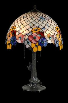 Classic simple pansy stained glass Tiffany lamp art by WPworkshop