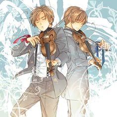 Feliciano and Lovino playing the violin - Art by りょう@リヴァイ班 on Pixiv, found via Zerochan