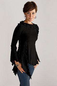 Pierrot Knit Top by Giselle Shepatin . With the ruffled edges of its many panels, fluted sleeves, and asymmetric hemline, this comfortable, body-skimming knit top is an artist's version of the multi-purpose black tee we all need.