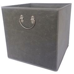 Lowes $9.98 allen + roth 12.75-in W x 12.75-in H x 12.75-in D Gray Faux Leather Bin