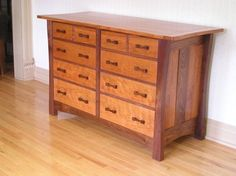 Custom Made Ten Drawer Arts & Crafts Style Dresser
